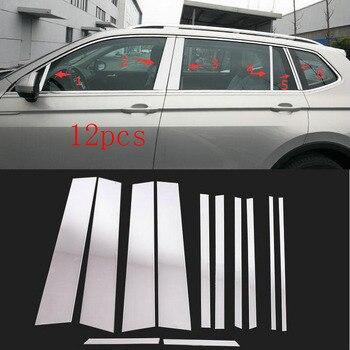 12 шт. автомобиля Нержавеющаясталь центр окна piilars украшения крышки B + C Столбы чехол накладка для VW Tiguan 2017 2018 >> Online Store 818131 for Your Car