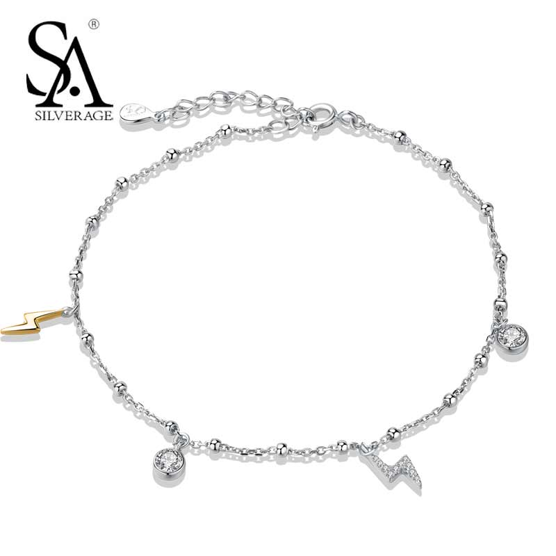 SA SILVERAGE Real Sterling Silver 925 Jewelry City Sky Lightning Anklets 2018 Trendy Chains Anklets for Women pair of rhinestoned hollowed leaf anklets