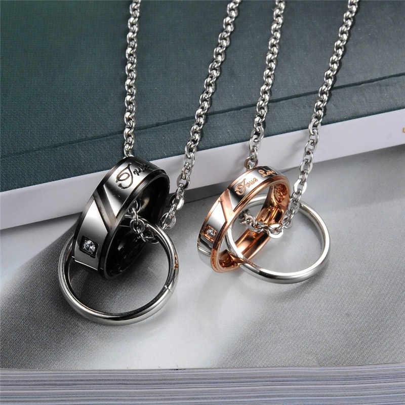 ZORCVENS moda cyrkonia biżuteria koło księżyc łańcuch złoty kolor stali nierdzewnej miłośników para naszyjniki i wisiorki dla kobiet mężczyzn