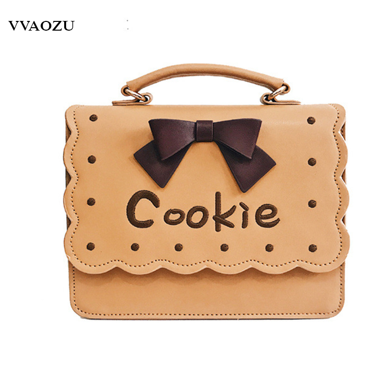 Women 3D Biscuit Shaped Shoulder Bag Cookie Embroidery Bowknot Handbag PU Crossbody Messenger Bag JK Style Lolita Hand Bags 2015 new arrival color match leather lolita bag novelty shaped shoulder bag piano key handbag with embroidery and badge