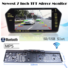 2.4G Wireless Hight Resolution 7 inch Video Screen Monitor Mirror 12V Bluetooth with Car European License plate Rearview camera