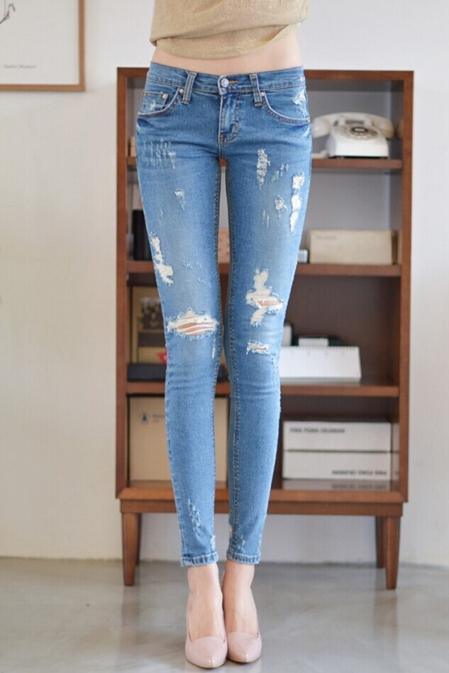 4XL Ladies Ripped Skinny Elastic Pencil Jeans Pants Plus Size ...