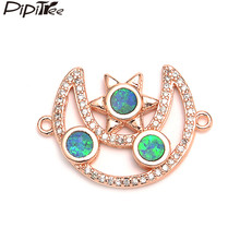 Pipitree Shiny Blue Fire Opal Charm Cubic Zirconia Moon and Star Charms Bracelet Connector Copper Jewelry Making DIY Accessories(China)