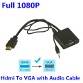 BrankBass HD 1080P HDMI to VGA Converter with 3.5MM Audio Cable for Xbox 360 For PS3 for PS4 PC DVD