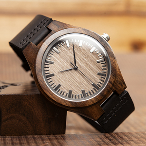 Image 4 - Marca superior bobo pássaro relógio de luxo masculino masculino relógios de madeira preta quartzo relógio de pulso banda couro macio oem C F08