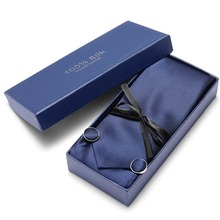 3inch(7.5 Cm) Wide Striped Mens Tie Wedding Solid Blue Paisley Man Tie, Handkerchief, Pin and Cufflinks Gift Box Packing