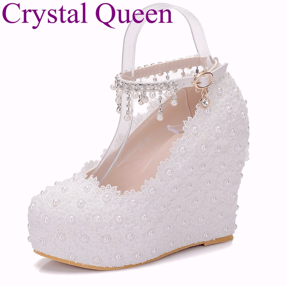 11cm women Elegant heels wedges shoes pumps white pearl and crystal  platform wedges shoes white high wedges shoes size 33 42-in Women s Pumps  from Shoes on ... 74cb3598edfd
