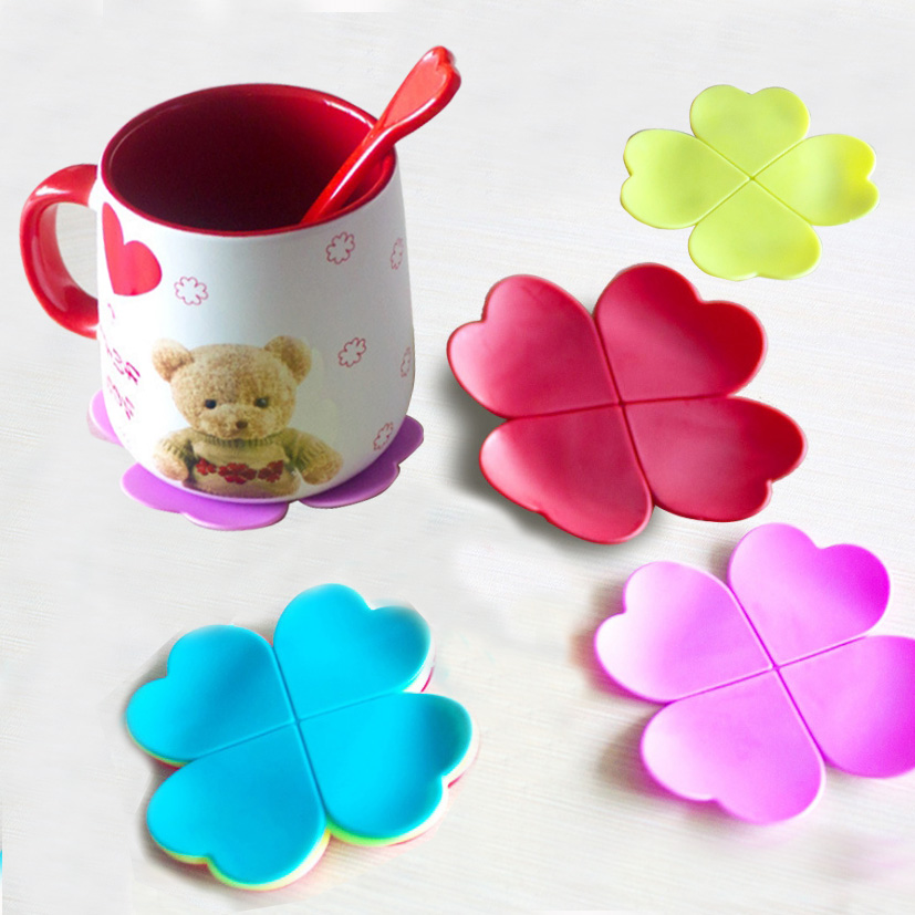 Silicone Table Mat Anti Scalding Hot Drinks Protector Pad Four Leaf Clover Shaped Placemats Heat Resistance Coaster For Tea Milk