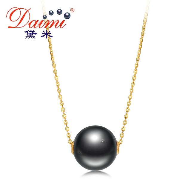DAIMI Большой Черный Жемчуг Кулон 11-11.5 мм Tahitian Перл & 18 К Желтого Золота Цепи Ожерелье Ювелирного Бренда