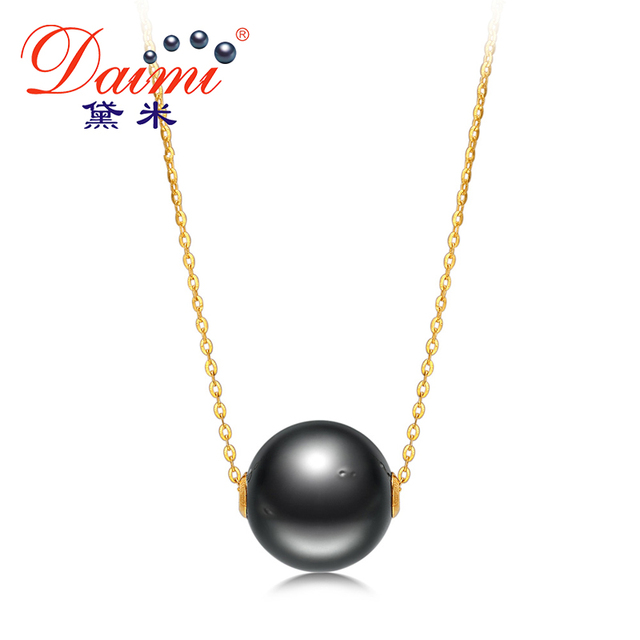 DAIMI Big Black Pearl Pendant 11-11.5mm Tahitian Pearl & 18k Yellow Gold Chain Necklace Brand Jewelry