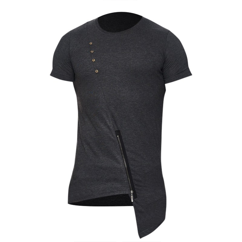 2018 Fashion Asymmetrical Design T Shirt Men Stylish Irregular Hem Zipper Round Neck Short Sleeve Cotton T-shirt Tee Shirt Homme