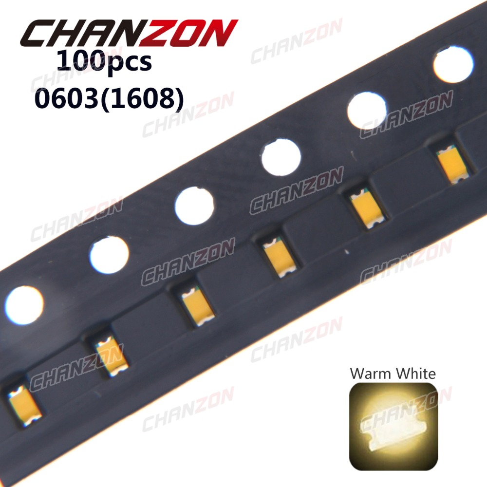 100pcs 0603 (<font><b>1608</b></font>) Warm White <font><b>SMD</b></font> SMT Bead Bulb Chip 20mA DC 3V Light Emitting Diode <font><b>LED</b></font> Lamp Surface Mounted Device Technology image