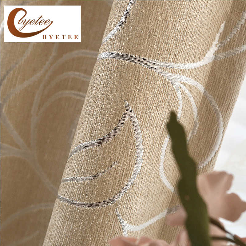 {byetee} Chenille Window Kitchen Curtains For Living Room Ready Made Bedroom Drapes Modern Cortinas Blackout Door Curtain Fabric