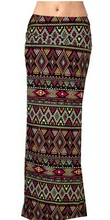 2016 Summer Elegant Women's Ethnic Style Rayon Totem Tribal Printed Long Maxi Pencil Vintage Wrap Skirt Falda mujer Plus Size