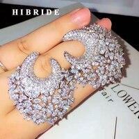 HIBRIDE Fashion Multicolor Cubic Zirconia Flowers Design Stud Earring For Women Jewelry Wedding Brincos boucle d'oreille E 869