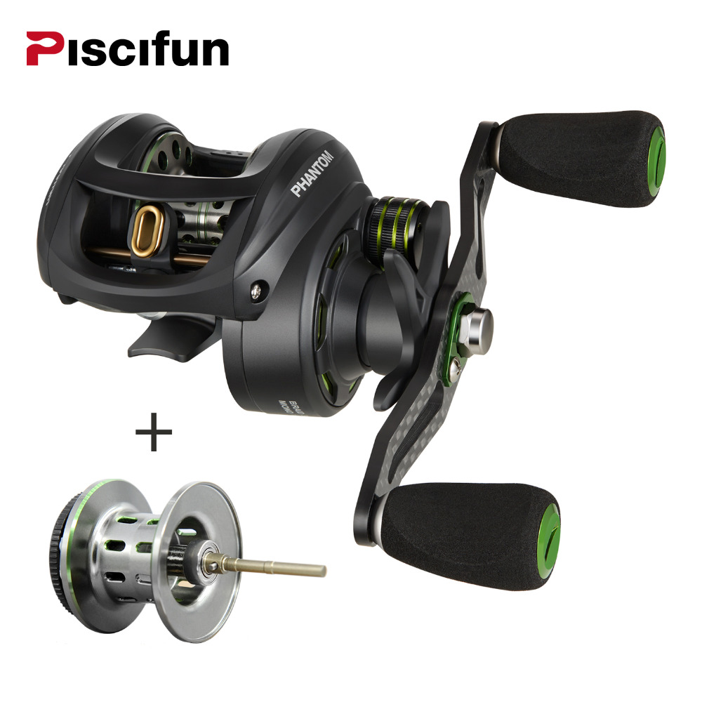 Фотография Piscifun Phantom+spool Fishing Reel Carbon Fiber Ultralight 162g Dual Brake 7.7kg Max Drag 7.0:1 Gear Lake Baitcasting Reel