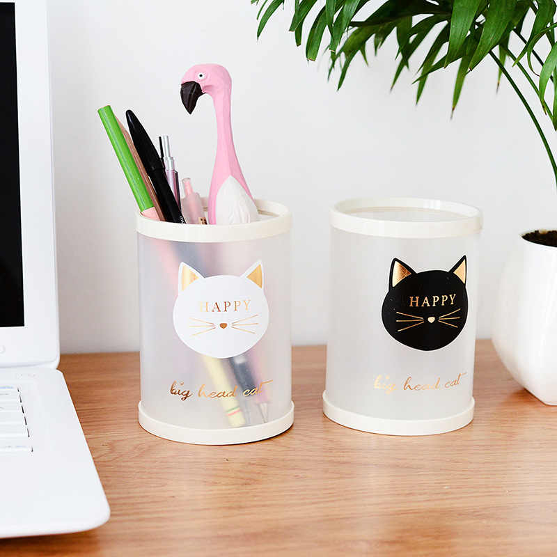 1 pic DIY round Animal cat number cartoon office desk box pp Plastic DIY pen holder pencil container large  capacity storage box