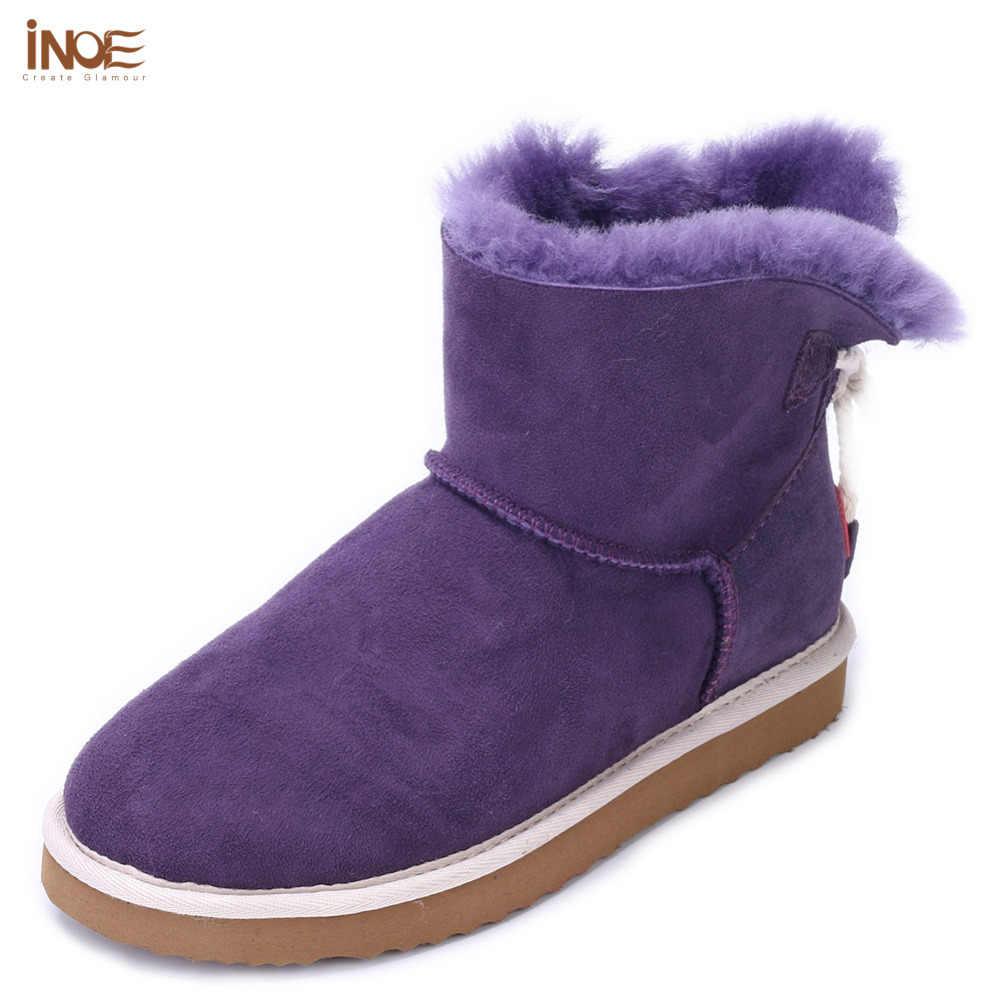 שורת בנות פרווה עור כבש אמיתי טבע אופנה מגפי שלג בקרסול דירות נעלי חורף נשים קצר קשת בצבע כחולה כהה-קשר