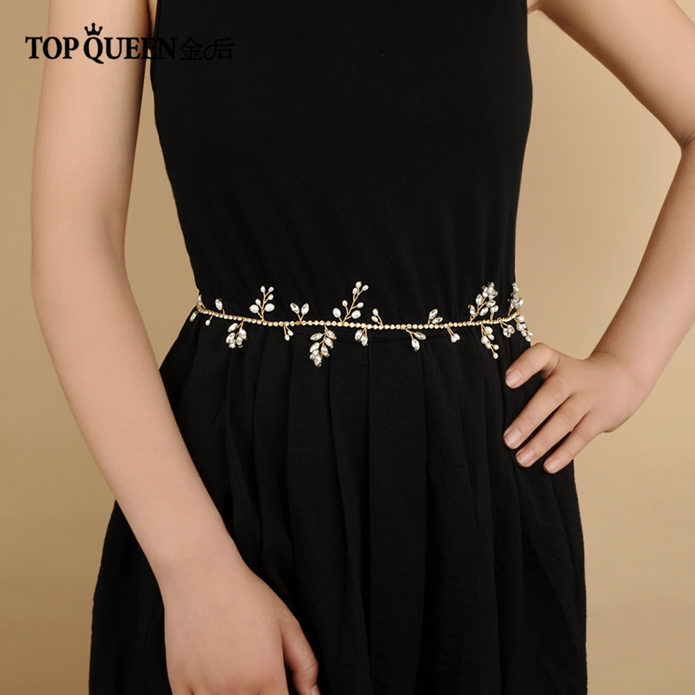 TOPQUEEN SH106 Belt For A Wedding Dress With Pearls Flower Belts Girl Gold Rhinestone Belt In Rhinestone Chain Rhinestones Yard