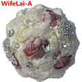 Handmade Ivory Pink Color Diamond Pearl Brooch Bride Holding Bouquet Artificial Flowers Wedding Throw Bouquets Custom Color W281