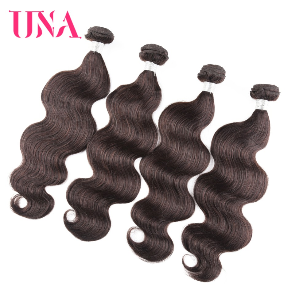 UNA Human Hair Weaves 4 Bundles Deal Body Wave Pure Color #2 - Human Hair (For Black)