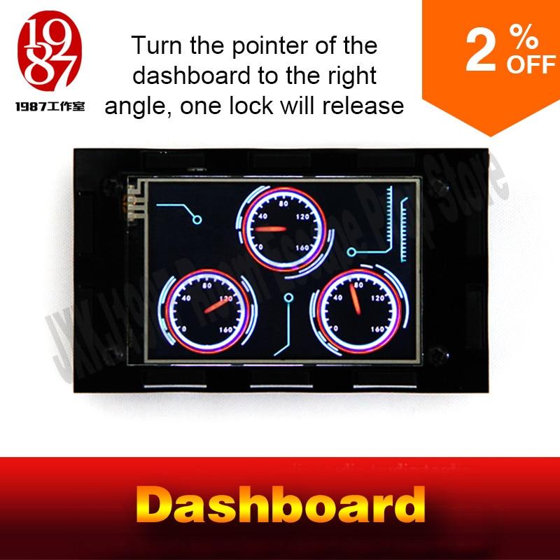 imágenes para JXKJ1987 escape habitación aventurero juego prop prop salpicadero ajustar tres grados dashboard a derecha para desbloquear aguja cambio prop