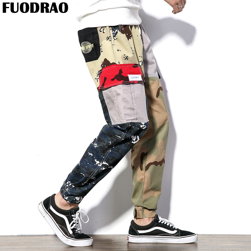 FUODRAO Designer Camouflage Pants Males Hip hop Pockets Patchwork Males Streetwear Joggers Pants Male Clothes Plus Dimension Ok101 Cargo Pants, Low-cost Cargo Pants, FUODRAO Designer Camouflage Pants Males Hip...