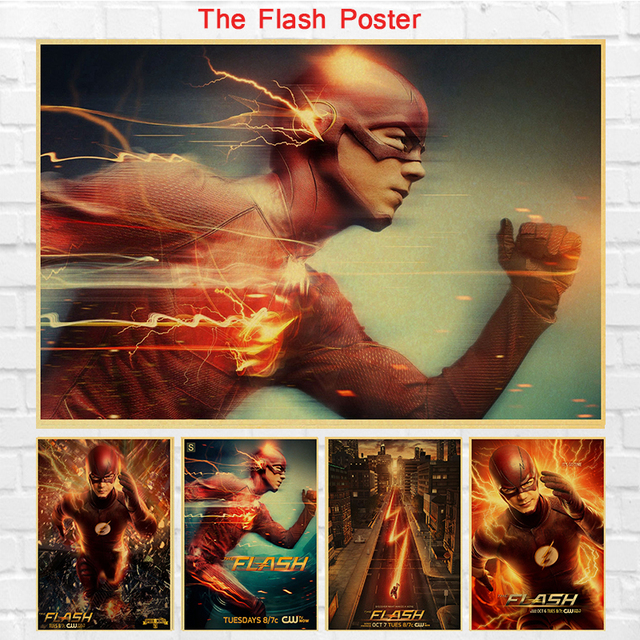 Vintage Tv Series The Flash Superheroes Poster Retro Poster Painting