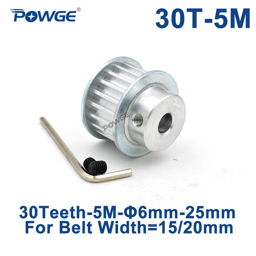 POWGE 30 Teeth HTD 5M Synchronous Pulley Bore 6/8/10/12/14/15/16/17/18/19/20mm for Width 15/20mm HTD5M Timing Belt 30Teeth 30T