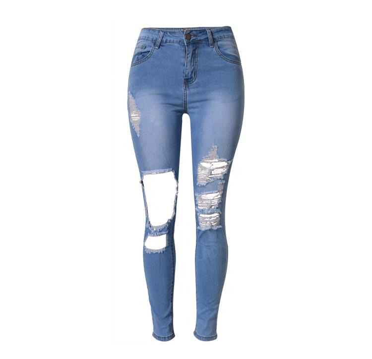 <font><b>2018</b></font> Summer Street Style High Waist jeans woman Elastic Denim <font><b>Pants</b></font> <font><b>Sexy</b></font> Ripped Begger Knee Hole ladies skinny Pencil <font><b>Pants</b></font> image