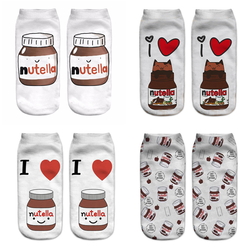 "2019 New Funny 3D Print Socks Cute 3D White ""nutella"" Character Women Socks Fashion Sox Ankle Socks Female Mujer Cartoon Cat Sox"