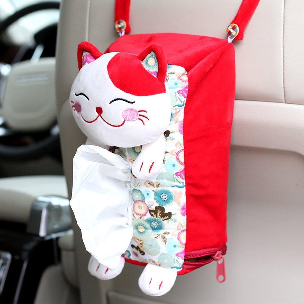 Car interior hanging - Cogeek Cute Plush Car Seat Back Hanging Tissue Box Auto Accessory Holder Paper Napkin Soft Storage Box