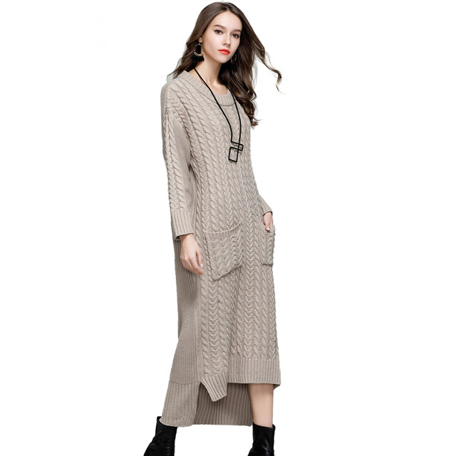 Vintage Women Asymmetrical Split Thick Sweater Dress New Autumn Winter ONeck Long Rib Cuff Wool Loose Pullover Sweaters Vestidos