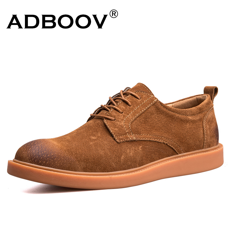 ADBOOV Nubuck Leather Casual Oxford Shoes Men British Style Retro Mens Loafers Round Toe Zapatos Hombre Casual Cuero hot sale mens italian style flat shoes genuine leather handmade men casual flats top quality oxford shoes men leather shoes