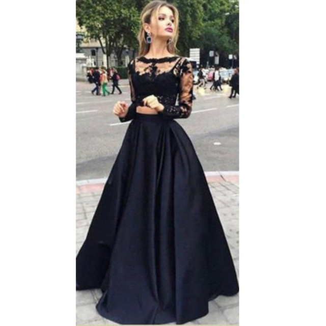 Black Long Sleeve Lace Gown