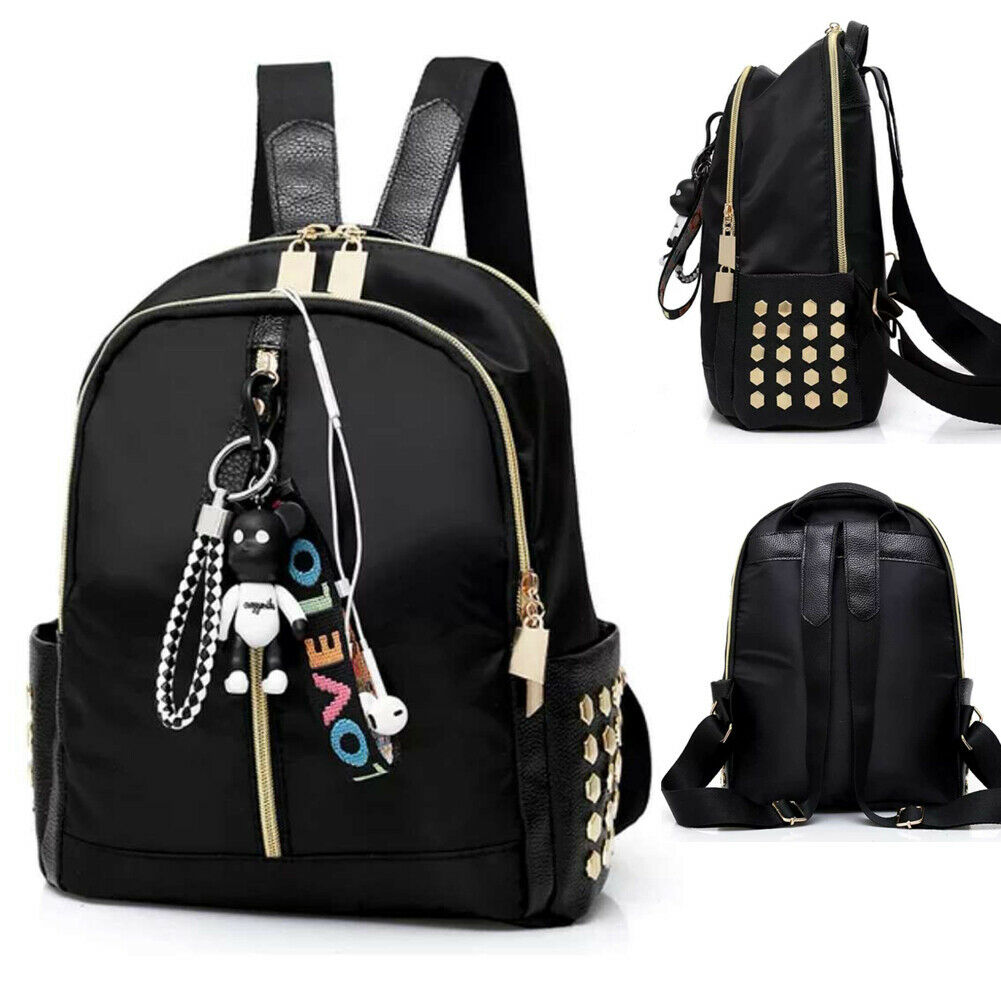 Fashion Women's Backpack Classic College Wind Plcak PU Leather Shoulder Bag (excluding Pendant)