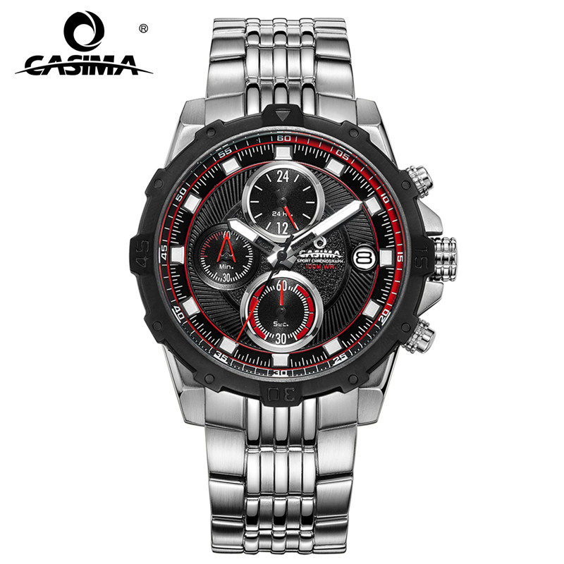 все цены на CASIMA fashion sport stainless steel multifunction three eyes calendar chronograph waterproof quartz men's watch 8306 онлайн