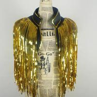 New Nightclube Ds Jazz Dance Costume Adult Unisex Sequins Tassels Gold Vest Waistcoat Woman Stage Outfit Hip Hop Singer Coat