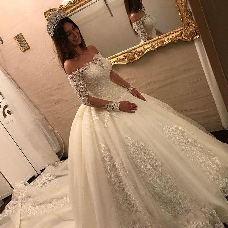 Dubaï robes de mariée robe de bal Applique balayage Train grande taille robes de mariée manches à lacets magnifique - 2
