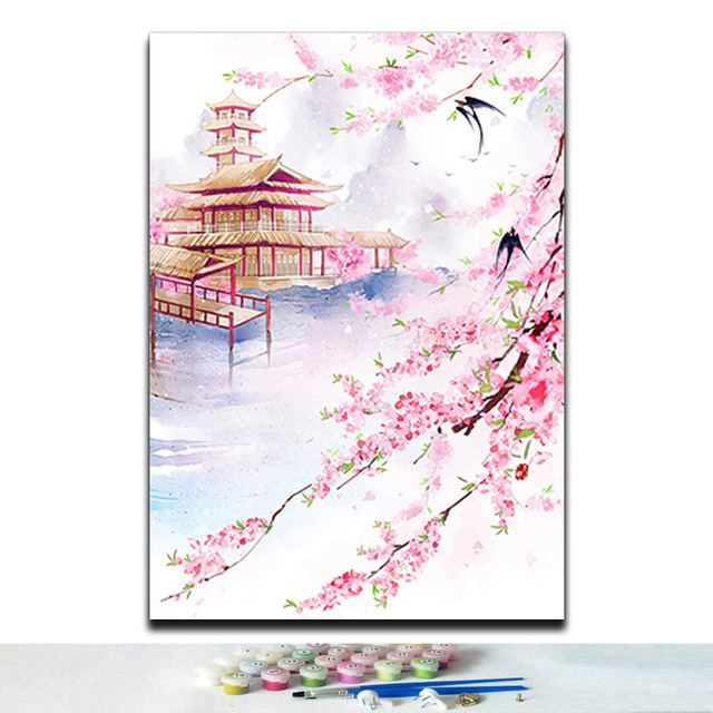 Traditional chinese style landscape flowers animals pictures coloring paintings by numbers diy 40x50 framed for room wall decor