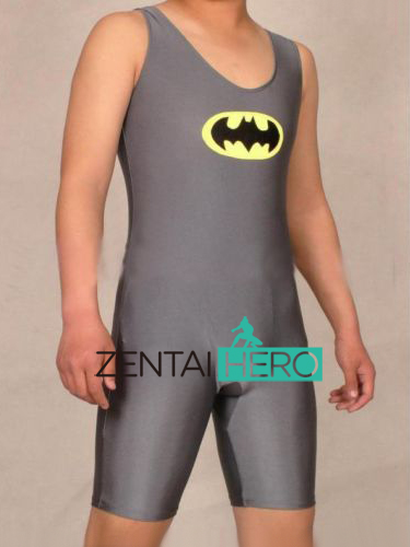 ZentaiHero Sexy Wrestling Singlet Tights Gray BatmanBib Shorts Costume Lycra Spandex Sleeveless Catsuit For Men 17012507