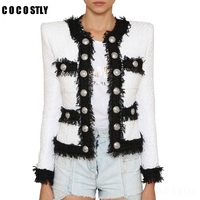 Women elegant black white tweed jacket fringe double breasted office lady formal jackets 2019 winter autumn outerwear