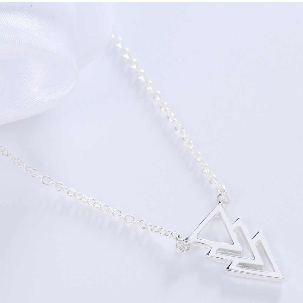 QIMING 1pcsTiny Boho Triangle Necklace Women Pendant  Geometric Necklace For Women ZA Collier Femme CC Best Friend Gift