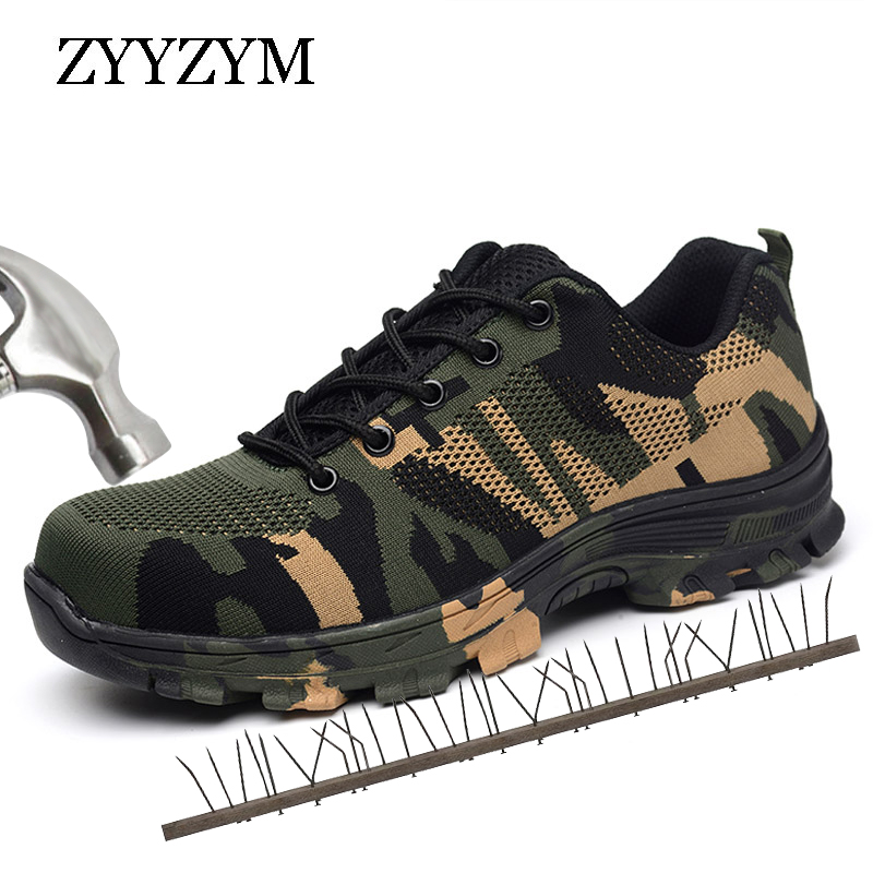 ZYYZYM Men Work Safety Boots Plus Size Outdoor Steel Toe Cap Military Shoes Men Camouflage Puncture Proof Army Boots zyyzym men work safety shoes steel toe cap casual shoes men non slip puncture outdoor boots