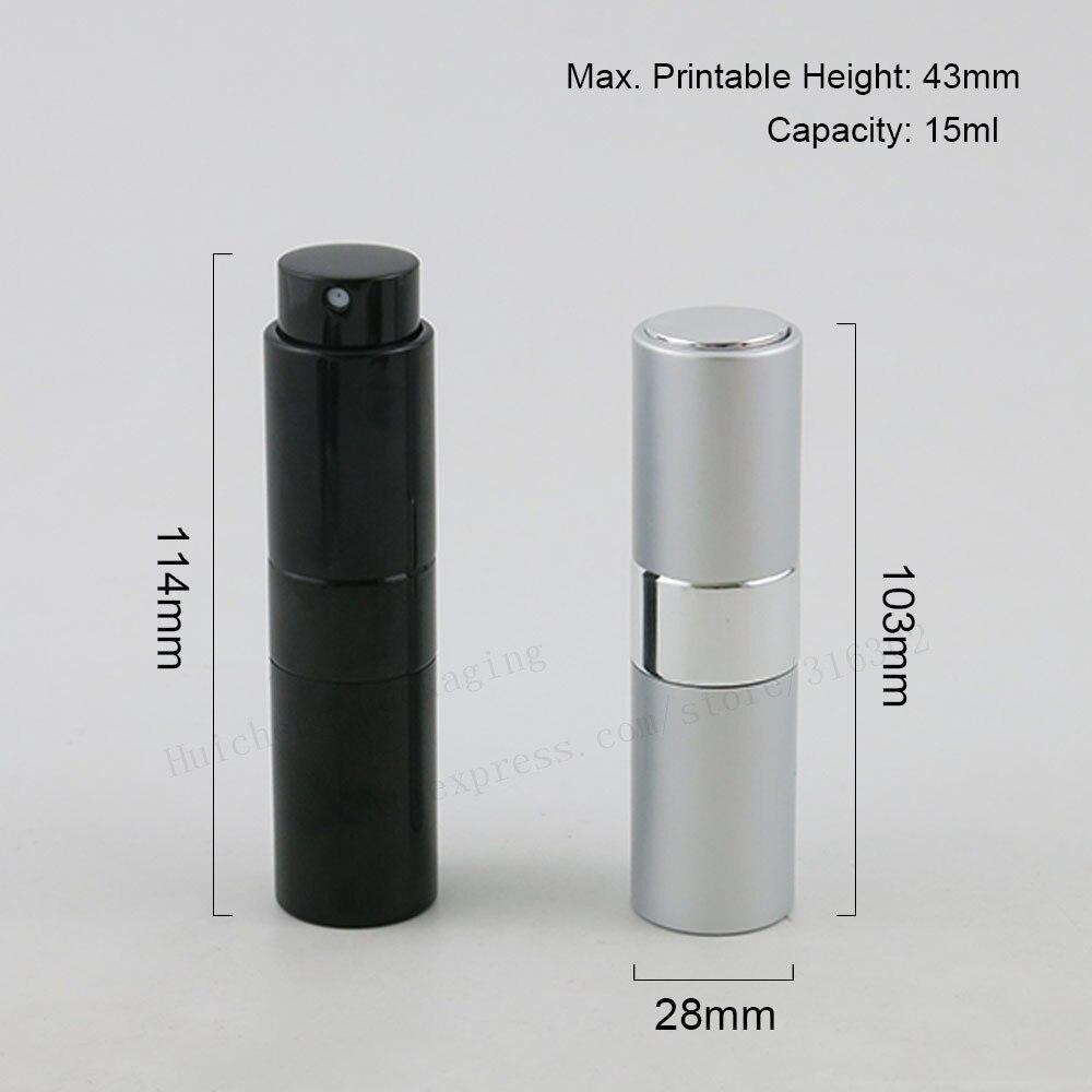 200x15 мл твист мини портативный для путешествий алюминиевый многоразового флакон для духов с распылителем и пустыми косметическими контейнерами с распылителем