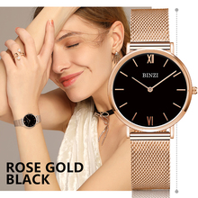 【Stock Clearance】 BINZI luxury Womens Watch Rose Gold Steel Mesh Belt Bracelet Clock Ladies Watches Montre Femme Reloj Mujer guou ladies watch luxury rose gold watch women watches full steel women s watches calendar clock saat montre femme reloj mujer