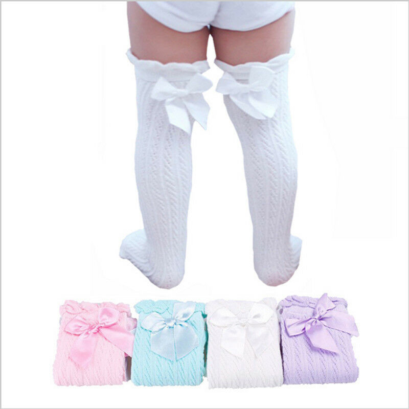 Toddler Kids Baby Girl Over The Knee Socks Bowknot Cotton Casual White Pink Blue Purple Princess Socks Autumn 28cm 38cm