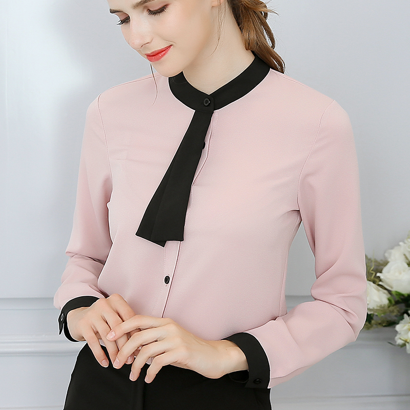 Women Blouses Chiffon Blouses Shirts Women Blusa Feminina Tops Long Sleeve Fashion Korean Woman Shirts Pink White Tops Plus Size