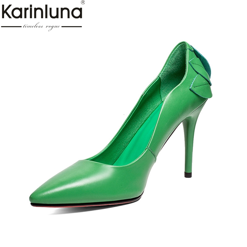 KarinLuna Chic Style Pointed Toe Sexy Thin High Heels Genuine Leather women s Shoes 2019 Brand