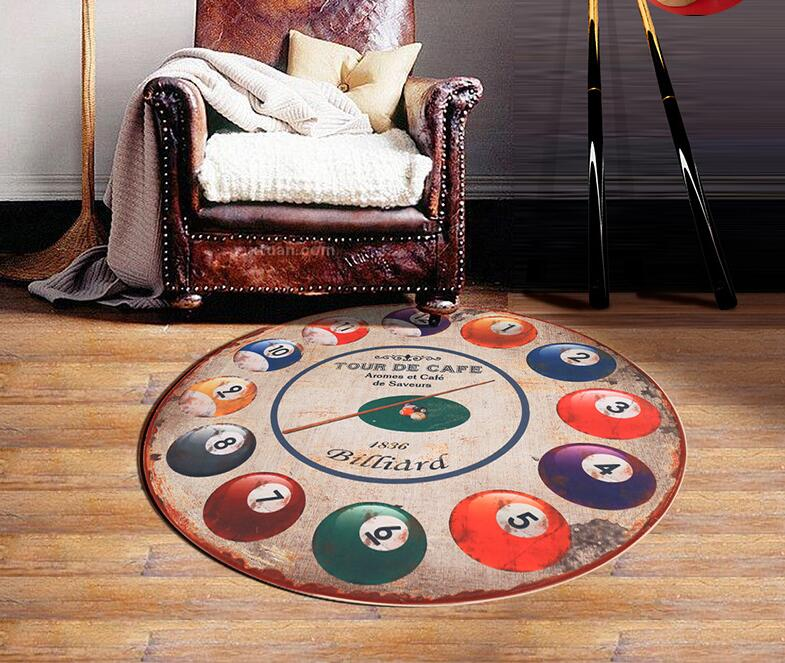 2016 Billiards Printing Classical EUR Style Round Carpet For Living Room Bedroom Study Room Tapis Non-slip Chair Mats Plush Rugs